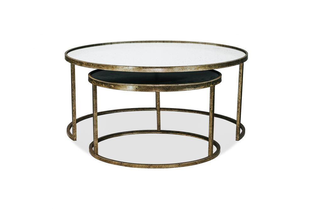 Amelia Nesting Glass Top Metal Frame Coffee Table 1