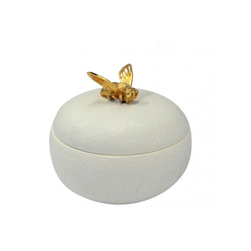Bee Round Trinket Box Cream Accessories Homeware 1
