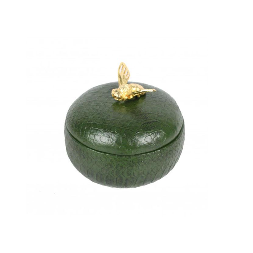 Bee Round Trinket Box Olive Accessories Homeware 1