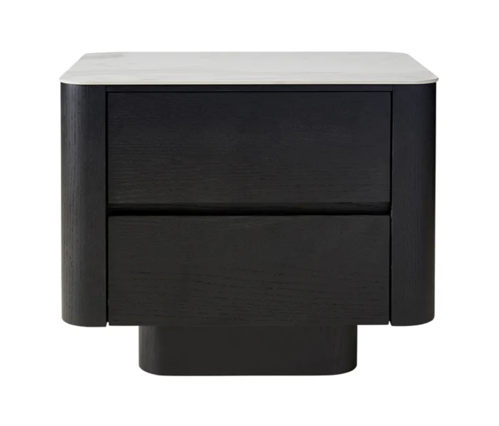 Clio Black Bedside Ceramic Marble Top Draws Storage 1