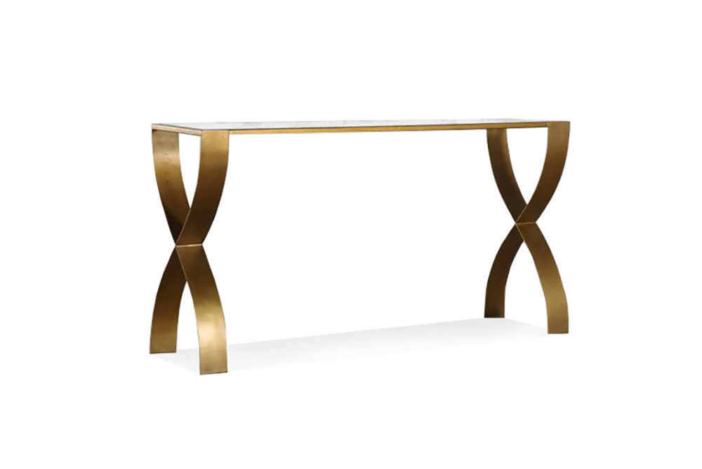 Aura Console Table Glass Top Metal Frame 1